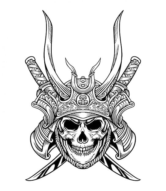 Japoński samurajski miecz czaszki Premium Wektorów