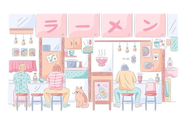 Japoński Sklep Z Ramenem Z Ludźmi Jedzącymi Darmowych Wektorów