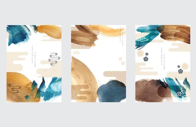 Japoński Szablon Z Azjatyckim Tłem Ikony. Ilustracja Obrysu Pędzla Akwarela Z Wzorem Fal. Premium Wektorów