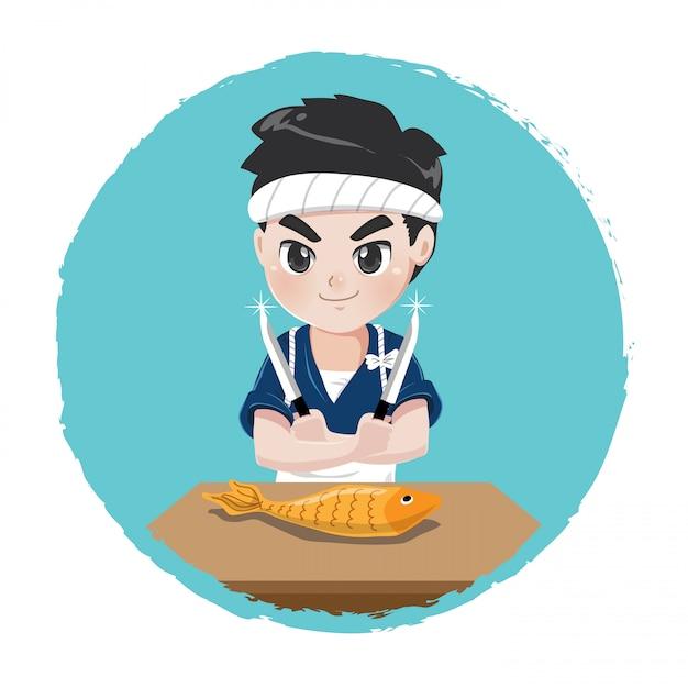 Japoński szef kuchni popisuje się umiejętnościami wędkarskimi w celu przygotowania japońskiego jedzenia przy użyciu ostrego noża, Premium Wektorów