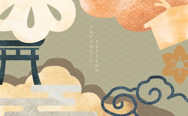 Japoński Tło Z Tradycyjnym Elementem Azjatyckim. Streszczenie Szablon Z Grunge Tekstur W Stylu Orientalnym. Premium Wektorów