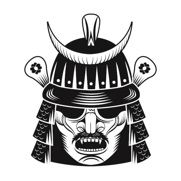 Japoński Wojownik Czarna Maska Płaski Obraz. Japoński Samuraj. Vintage Ilustracji Wektorowych Darmowych Wektorów