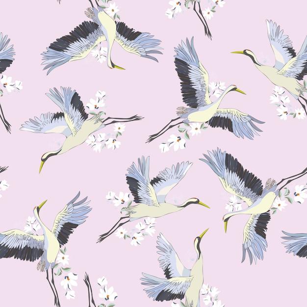 Japoński Wzór Ptaków Premium Wektorów