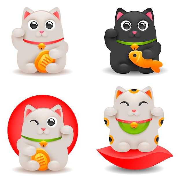 Japońskie Szczęśliwe Koty Premium Wektorów