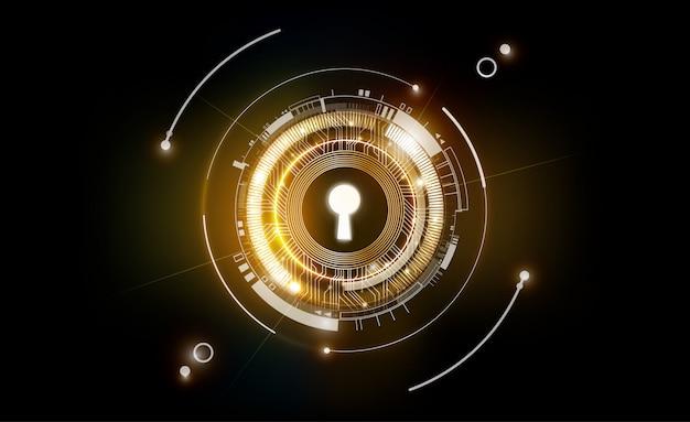 Jarzeniowego Keyhole Technologii Abstrakcjonistyczny Futurystyczny Tło Z Lekkim I Błyszczącym, Kluczem Sukcesu Rozwiązanie, Biznesowy Pojęcie, Ilustracja Premium Wektorów