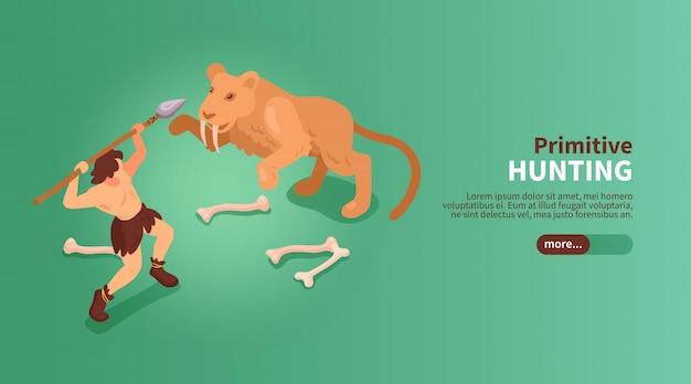 Jaskiniowiec Izometryczny Prymitywnych Ludzi Transparent Z Tekstem Suwak Przycisku Obrazy Człowieka I Szablą Zębatego Tygrysa Ilustracji Darmowych Wektorów