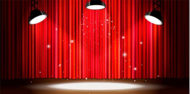 Jaskrawa Czerwona Zasłona Z Jaskrawym Oświetleniem Reflektorów, Retro Teatr Sceny Szerokie Tło Premium Wektorów