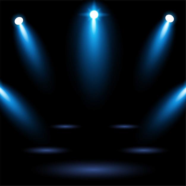 Jaskrawy Błękitny Stadium Areny Tło Z Oświetleniowym światłem Reflektorów Premium Wektorów
