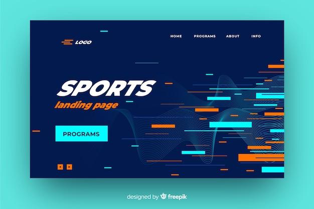 Jasna Geometryczna Strona Docelowa Sportu Darmowych Wektorów