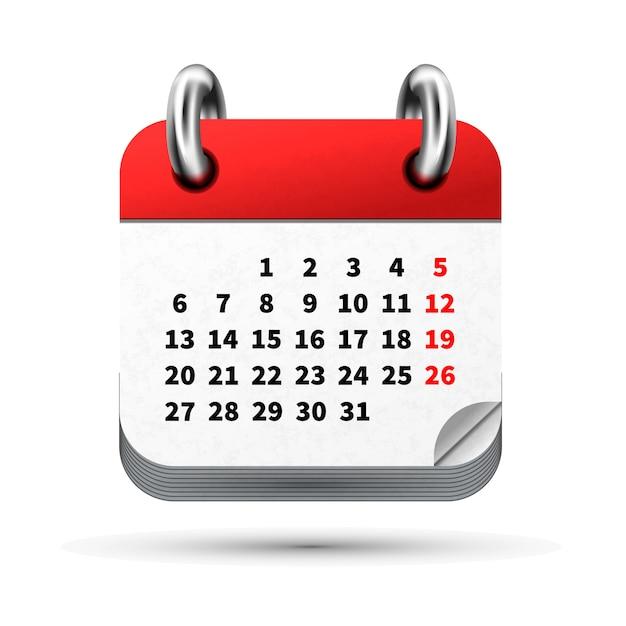 Jasna Realistyczna Ikona Kalendarza Miesiąca Z Datami Na Białym Premium Wektorów