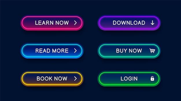 Jasne Nowoczesne Neonowe Streszczenie Przyciski Na Stronie Internetowej. Premium Wektorów