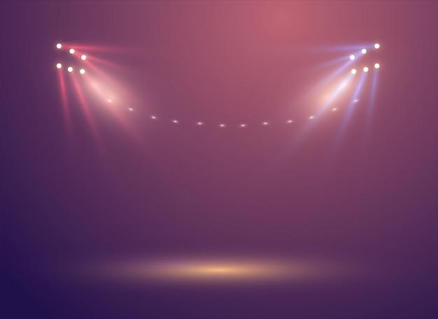 Jasne Oświetlenie świateł Stadionowych Premium Wektorów
