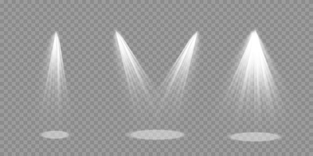 Jasne Oświetlenie Z Reflektorami, Kolekcja Reflektorów Scenicznych, Efekty świetlne Projektora, Scena, Pojedyncze światło Punktowe, Duża Kolekcja Oświetlenia Scenicznego, Wektor. Premium Wektorów