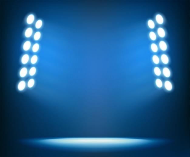Jasne reflektory na ciemnoniebieskim Premium Wektorów