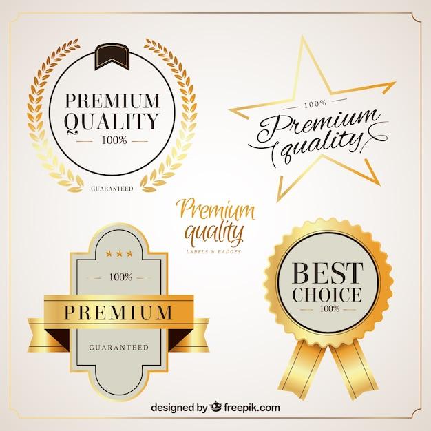 Jasne Złote Odznaki Jakości Premium Premium Wektorów