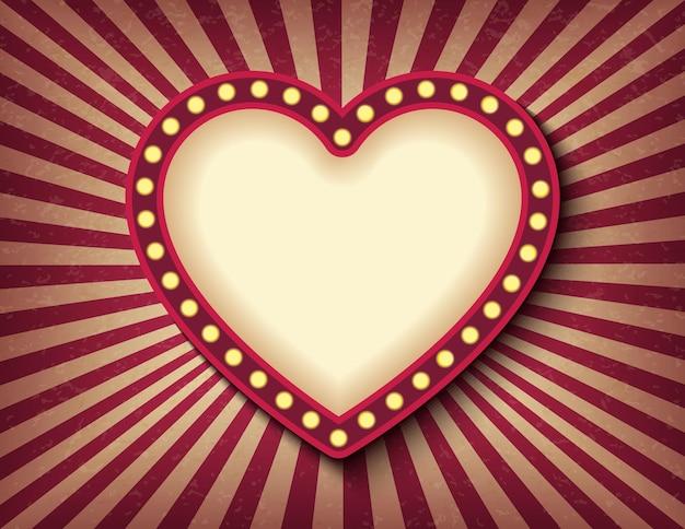 Jasno świecące Serce Neon Kino Retro. Styl Cyrkowy Saint Valentine Day Premium Wektorów