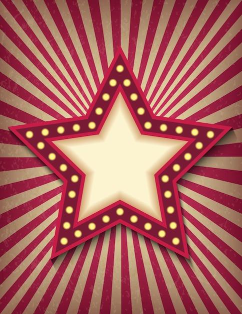 Jasno świecący Neonowy Znak Gwiazdy Retro Kina. Styl Cyrkowy Pokazuje Szablon Pionowego Banera. Premium Wektorów