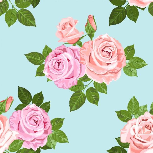Jasnoróżowy I Beżowy Róż Wzór Na Niebiesko Premium Wektorów