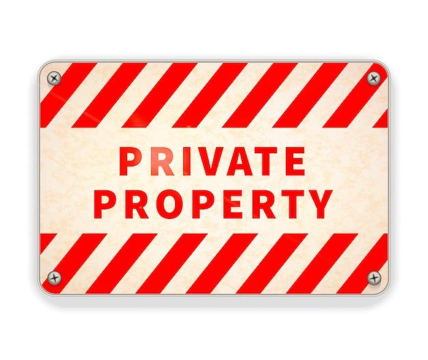 Jasny Błyszczący Czerwony I Biały Metalowy Talerz, Znak Ostrzegawczy Własności Prywatnej Na Białym Tle Premium Wektorów