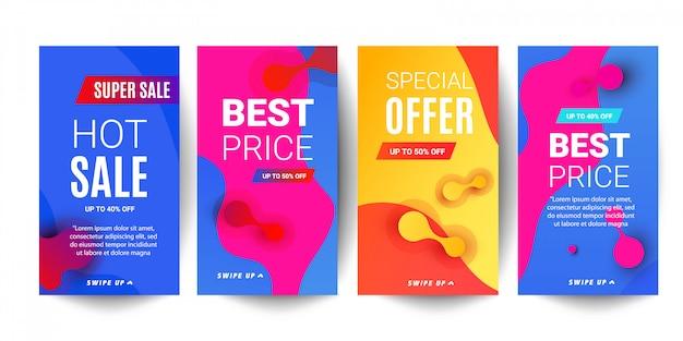 Jasny gradient płynnych gradientów sprzedaży transparent banerów dla opowiadań sieci społecznych Premium Wektorów