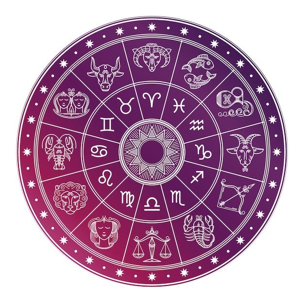 Jasny I Biały Krąg Astrologii Horoskop Ze Znakami Zodiaku Premium Wektorów