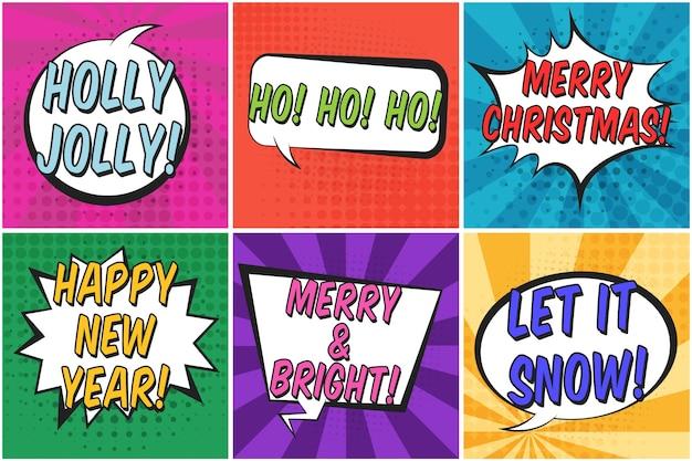 Jasny Kolorowy Kwadratowy Boże Narodzenie Retro Dymki Zestaw. Premium Wektorów