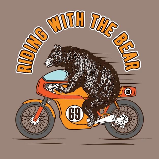 Jazda Z Niedźwiedziem Premium Wektorów