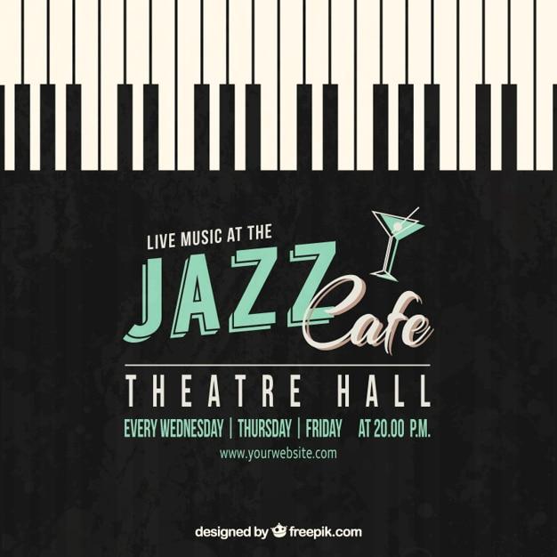 Jazz cafe plakat Darmowych Wektorów