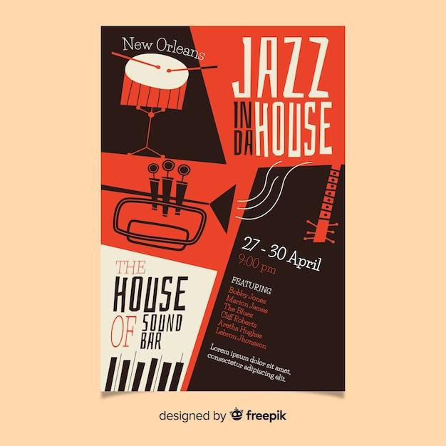 Jazzowy Streszczenie Ręcznie Rysowane Plakat Szablon Darmowych Wektorów