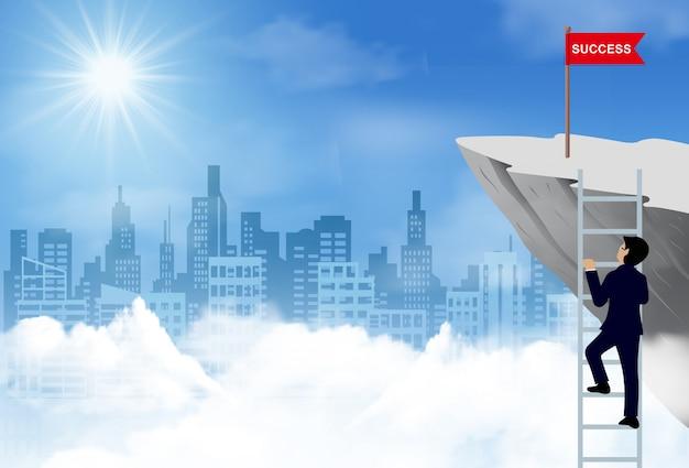 Jeden biznesmen wspiął się po schodach i podszedł do flagi czerwonej na klifie, do celu i sukcesu finansowego biznesu Premium Wektorów