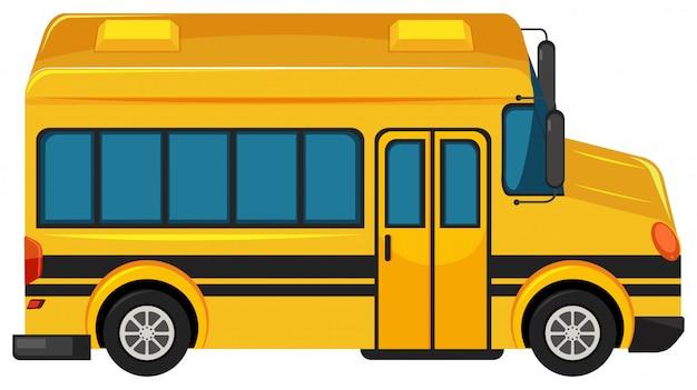 Jeden Duży Autobus Szkolny Na Białym Tle Darmowych Wektorów