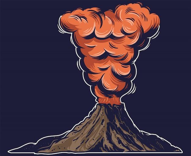Jeden Wielki Niebezpieczny Aktywny Wulkan Z Ogniem Bardzo Gorącej Lawy I Gęstym Czerwonym Dymem Na Górze. Premium Wektorów