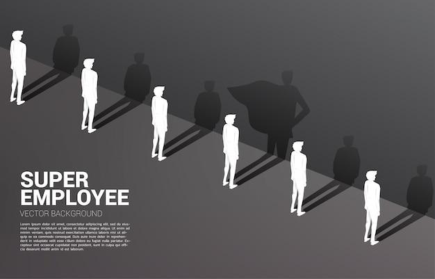 Jeden z silhouette biznesmenów i jego cień superbohatera. koncepcja wzmocnienia potencjału i zarządzania zasobami ludzkimi Premium Wektorów