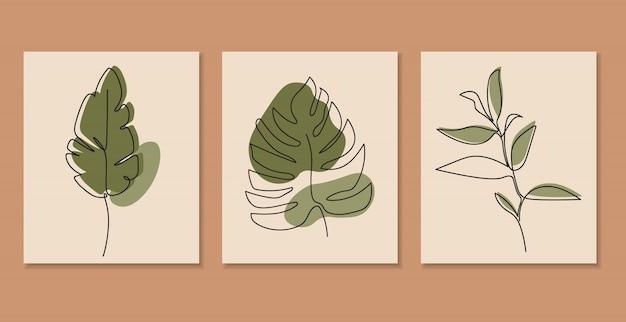 Jedna Linia Ciągła Liści, Sztuka Rysowania Pojedynczej Linii, Tropikalne Liście, Zestaw Roślin Botanicznych Premium Wektorów