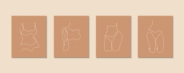 Jedna Linia Ciągła Zestawu Seksownego Ciała, Sztuka Rysowania Pojedynczej Linii, Izolowane Ciało Kobiety, Prosty Projekt Artystyczny, Abstrakcyjna Linia, Sylwetka Dla Ramki Premium Wektorów