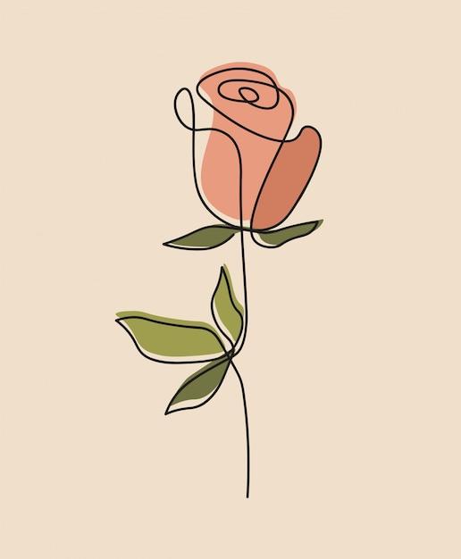 Jedna Linia Ciągłego Kwiatu, Pojedyncza Sztuka Rysowania Linii Premium Wektorów