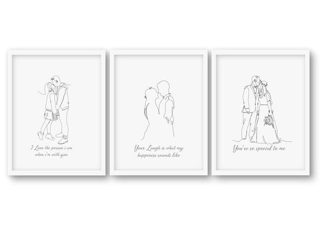 Jedna Linia ślub Para Zestaw, Plakat Kolekcje Ilustracji Premium Wektorów