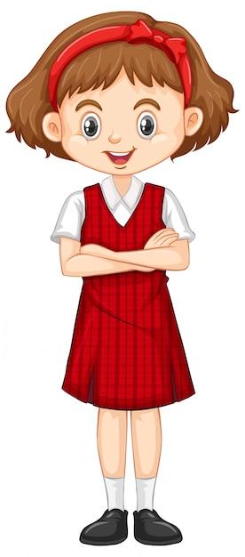 Jedna Szczęśliwa Dziewczyna W Czerwonym Mundurze Darmowych Wektorów