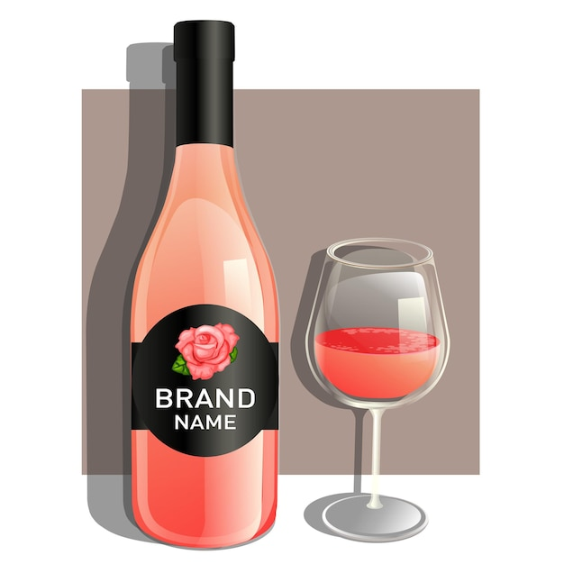 Jedna Szklanka I Butelka Różowego Wina Premium Wektorów