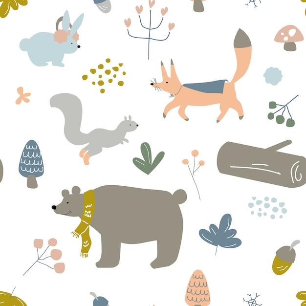 Jednolite Wzór Dla Dzieci, Niemowląt Lub Dzieci, Zimowe Zwierzęta W Lesie Premium Wektorów