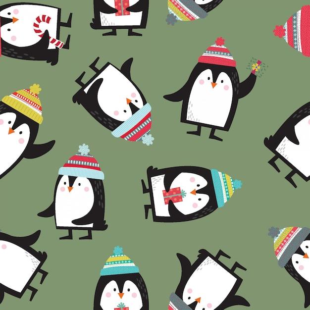 Jednolity ładny pingwina Premium Wektorów