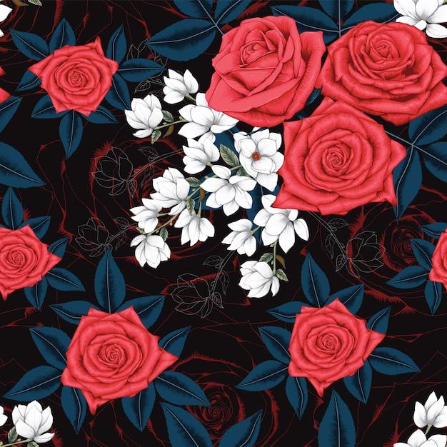 Jednolity Wzór Czerwona Róża I Białe Kwiaty Magnolii Premium Wektorów