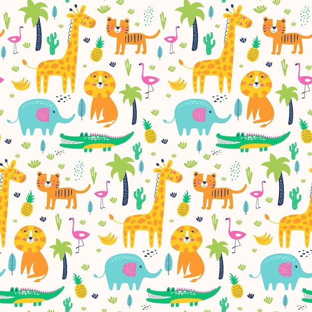 Jednolity Wzór Dzikich Zwierząt W Dżungli. Ilustracje Dla Dzieci Premium Wektorów