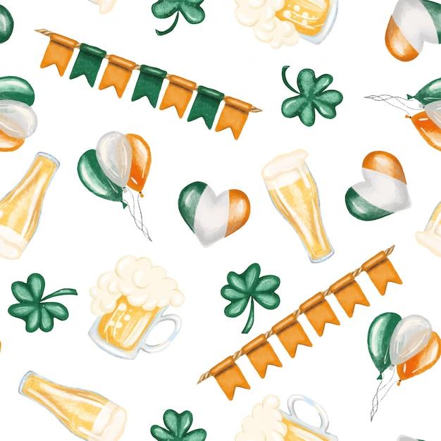 Jednolity Wzór Elementów Dnia świętego Patryka (piwo, Kolory Irlandzkie I Koniczyna) Premium Wektorów