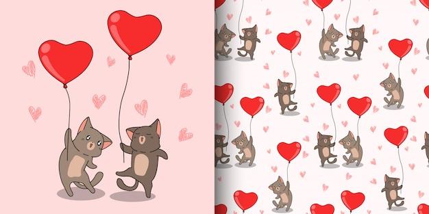 Jednolity Wzór Kawaii Kot Znaków Niosą Balon Czerwony Serce Na Walentynki Premium Wektorów