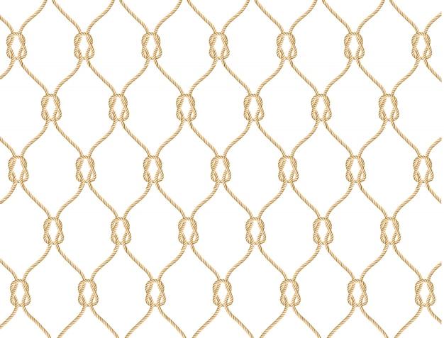 Jednolity Wzór Liny Morskie. Niekończące Się Granatowa Ilustracja Z Beżowym Ornamentem Sieci Rybackiej I Morskich Węzłów Na Białym Tle Premium Wektorów