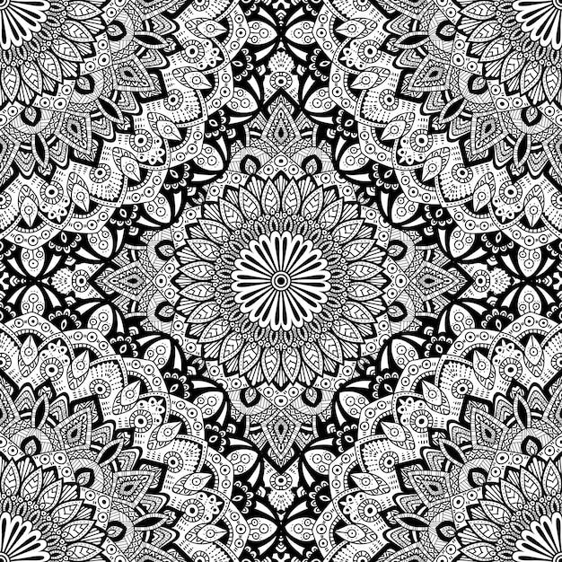 Jednolity wzór mandali ornament. Premium Wektorów