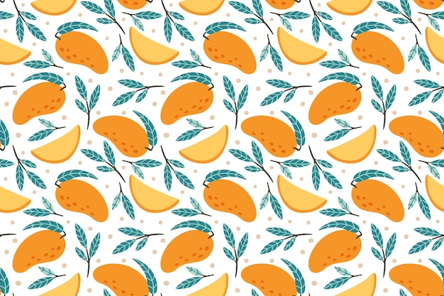 Jednolity Wzór Mango. Ręka Rysująca Doodle Mango Tła Wyśmienita Słodka Ilustracja Premium Wektorów