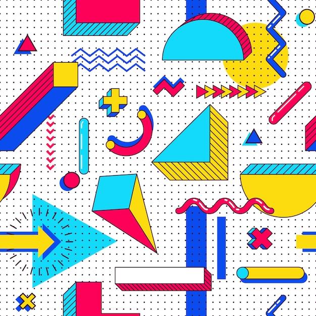 Jednolity wzór memphis. abstrakcyjne elementy z lat 90. z wielokolorowymi prostymi kształtami geometrycznymi. kształty z trójkątami, okręgami, liniami Premium Wektorów
