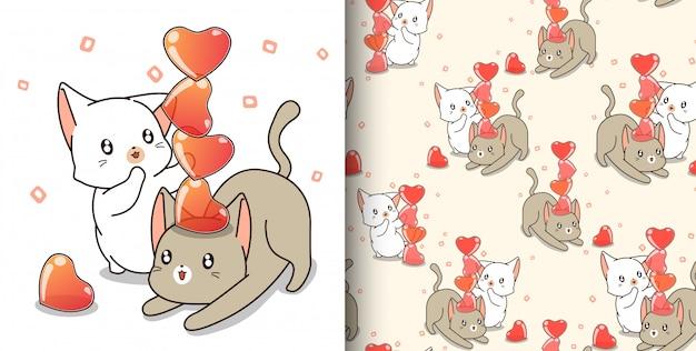 Jednolity Wzór Para Kot Postać Grają Galaretki Serca Premium Wektorów